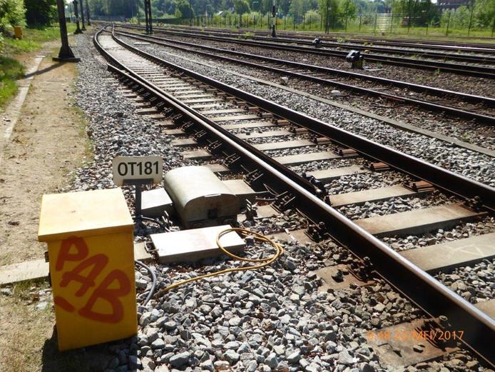 De ontspoortong bij station Ede-Wageningen die vrijdag een trein liet ontsporen.