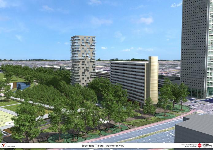De geplande woontoren (links) is ongeveer half zo hoog als Westpoint (rechts) en het dubbele van bestaande flats aan de Hart van Brabantlaan.