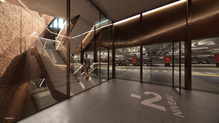 Zo zal het parkeerpaviljoen er van binnen uitzien.