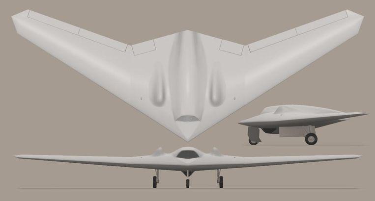 Een artist impression van de geheime Amerikaanse RQ-170-drone. De VS hebben nog steeds geen foto's vrijgegeven van het onbemande toestel. Het verkenningvliegtuig is eigenlijk een kleine versie van de steathbommenwerper B-2 Spirit. Beeld By Truthdowser at English Wikipedia