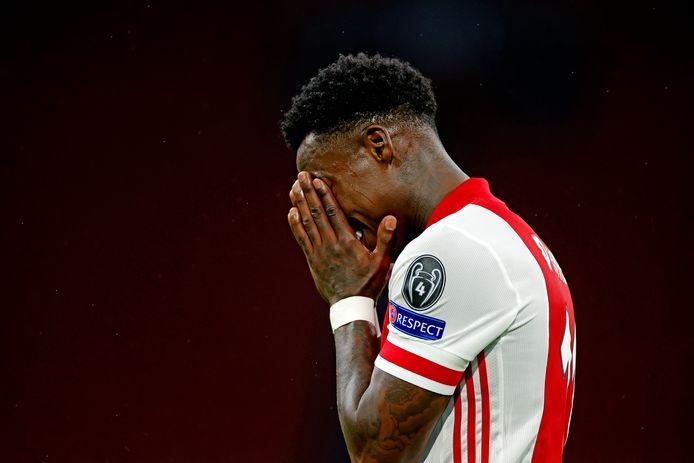 Champions League seizoen 2020/2021 Ajax-Liverpool Quincy Peromes slaat de handen voor de ogen na een gemiste kans Foto ; Pim Ras 21-10-20