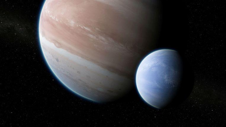 Een tekening toont de exoplaneet Kepler-1625b met daarnaast de pas ontdekte exomaan.