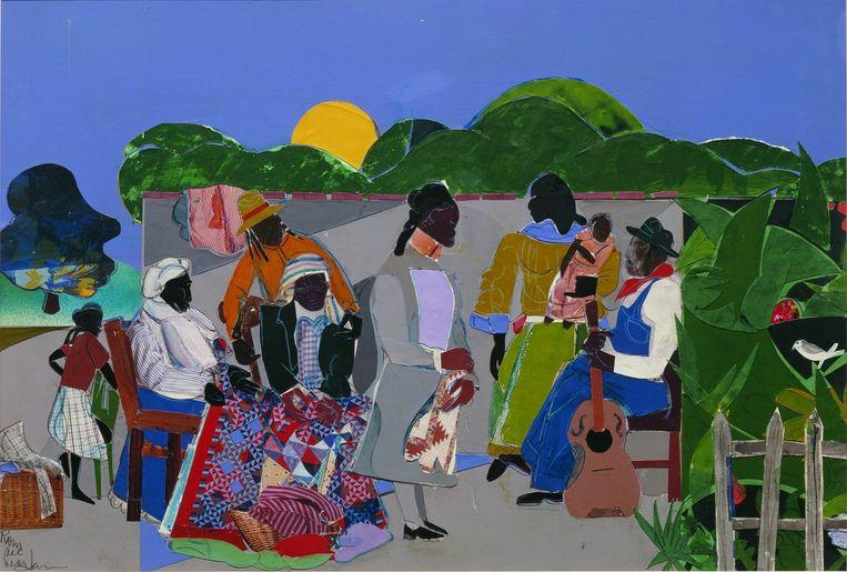 Tell me your story: 100 jaar Afrikaans-Amerikaanse kunst. Kade, Amersfoort.  Romare Bearden, Maquette for Quilting Time, 1985.  Beeld Romare Beerden c/o Pictoright Amsterdam 2019