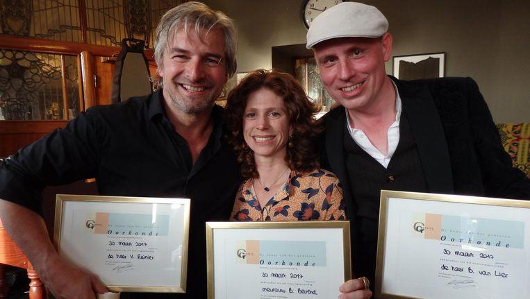 De nieuwe lichting ambassadeurs van het Genevergenootschap: acteur Victor Reinier, organist Bas van Lier en sportjournalist Barbara Barend Beeld Schuim