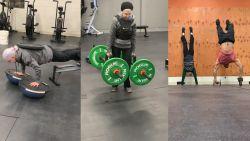 73-jarige vrouw heft gewichten, plankt  en doet handenstand alsof het niets is
