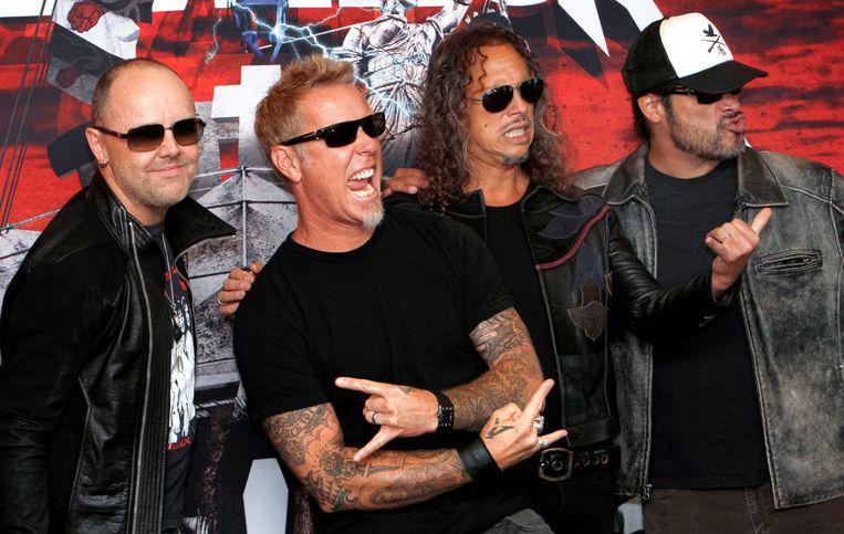 Metallica met vlnr Lars Ulrich, James Hetfield, Kirk Hammett en Robert Trujillo.