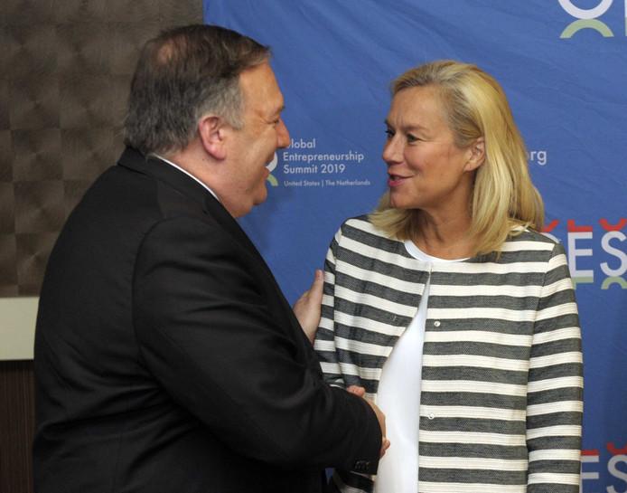Minister Sigrid Kaag (Buitenlandse Handel en Ontwikkelingssamenwerking) ontmoet de Amerikaanse minister Mike Pompeo (Buitenlandse Zaken) op Road to Heartland in Kasas, Verenigde Staten.