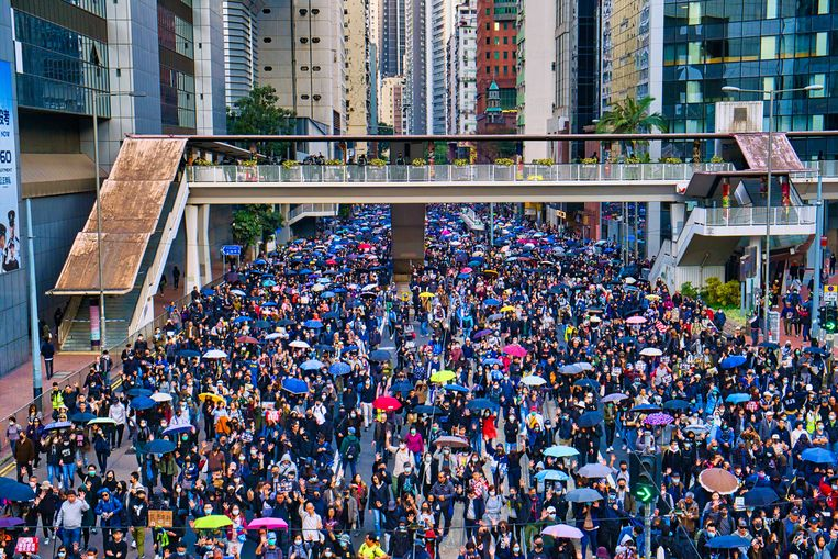 Begin december namen nog 800.000 mensen deel aan de Human Rights March in Hongkong.