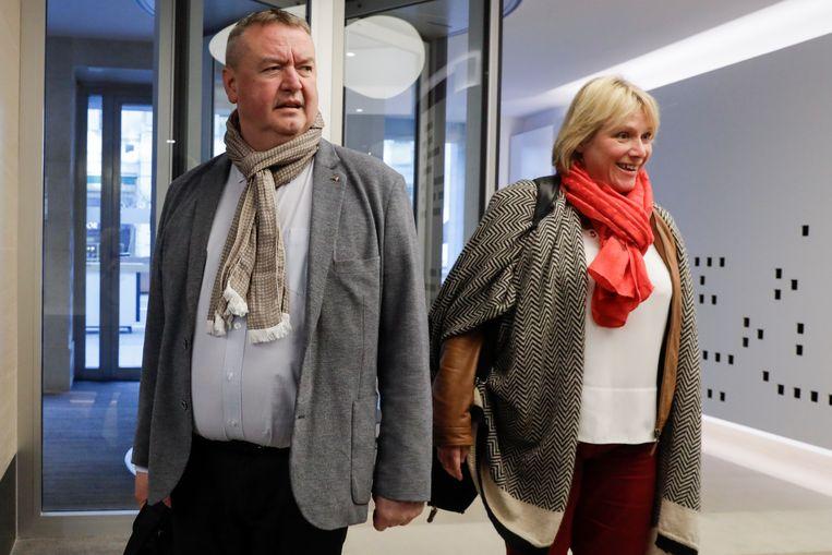 ABVV/FGTB-voorzitter Robert Vertenueil en Miranda Ulens van het ABVV kwamen gisteren met hun collega's samen in Brussel.