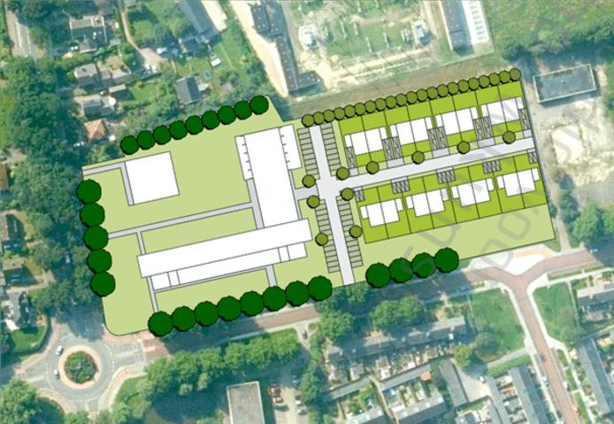 Schetsontwerp van de nieuwe invulling van het terrein. Het hoofdgebouw blijft behouden en de praktijklokalen maken plaats voor woningen.