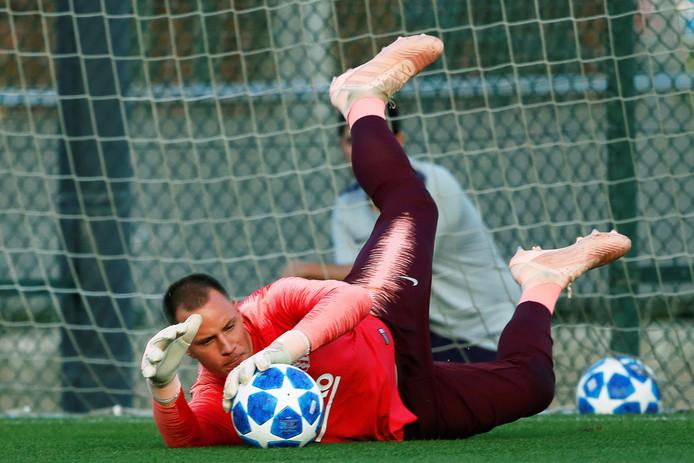FC Barcelona-doelman Marc-André ter Stegen op de training gisteravond.