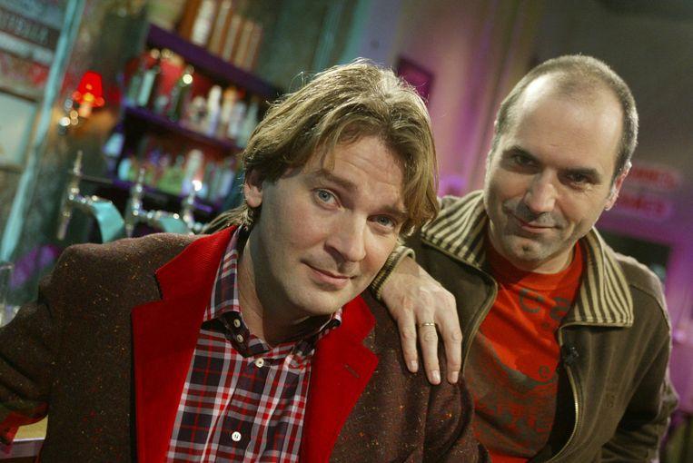 Matthijs van Nieuwkerk en Leo Blokhuis bij Top 2000 a gogo. Beeld anp