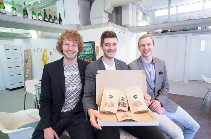 Rens Stokman, Yannick van Gelder en Joar Nilssen (van links naar rechts) vormen samen Tinyfoods.