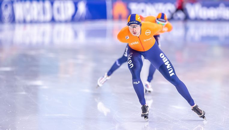 Sven Kramer tijdens de wereldbekerwedstrijden in 2019.  Beeld BSR Agency
