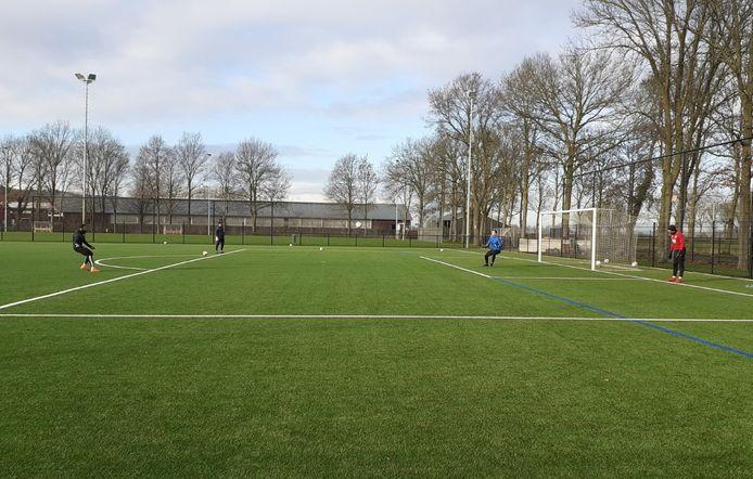 Keeperstraining van Alwies Hendriks op het veld van BVC'12, met doelmannen Aria Hashemi, Alex Joosten en Zeus de la Paz.