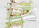 De kaart van het toekomstige Stationskwartier met een Brugweg, die vanaf de Stadsbrug bijna langs de de A16 naar de Burgemeester Doumaweg loopt.