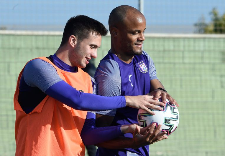 SAN PEDRO DEL PINATAR, SPAIN - JANUARY 9 :  Vincent Kompany defender of Anderlecht and Luka Adzic midfielder of Anderlecht pictured during a training session at the midseason training winter stage camp on January 09, 2020 in San Pedro Del Pinatar, Spain, 9/01/2020 ( Photo by Philippe Crochet / Photonews