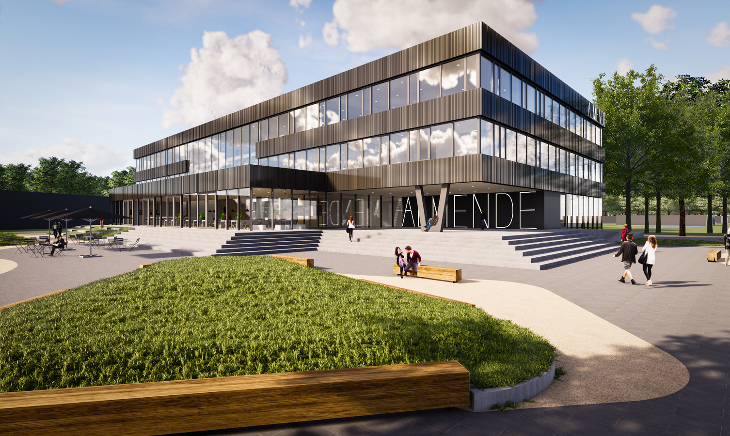 Vooraanzicht van het nieuwe Almende College in Silvolde.