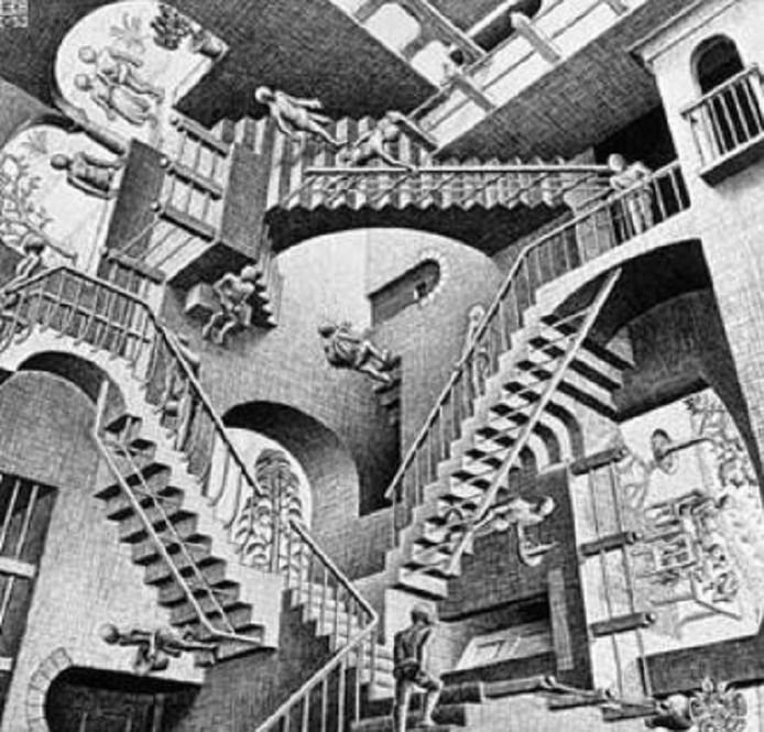 Relativiteit is de titel van deze lithografie die Escher in 1953 maakte.