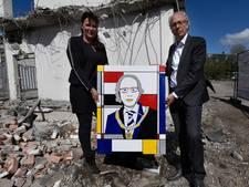 Burgemeester Woerden ontvangt schilderij in Mondriaan-stijl