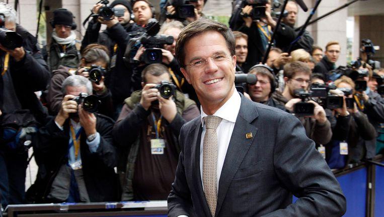 Mark Rutte op de eurotop in Brussel Beeld reuters