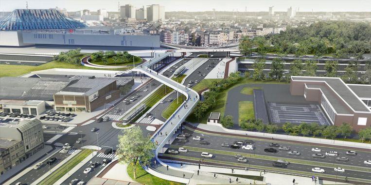 Een toekomstbeeld van de voetgangersbrug aan Schijnpoort.