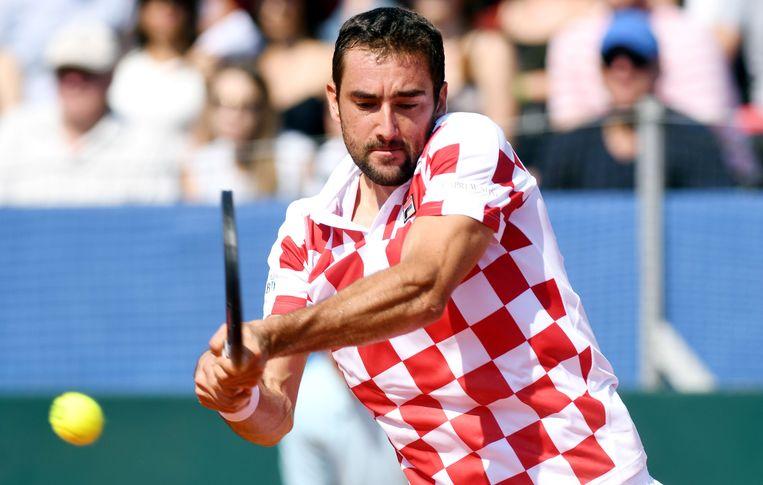 Cilic tijdens de halve finale van de Davis Cup tijdens de Verenigde Staten.