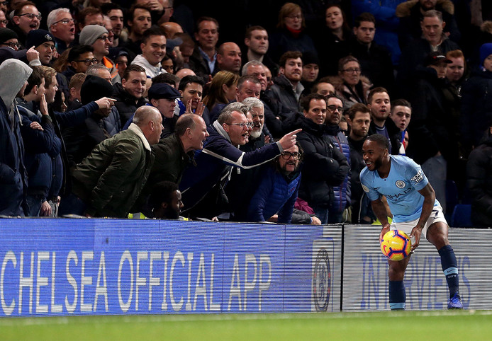 Manchester City's Raheem Sterling collects the ball from in front of the fans © PHOTO NEWS / PICTURE NOT INCLUDED IN THE CONTRACTS  ! only BELGIUM !