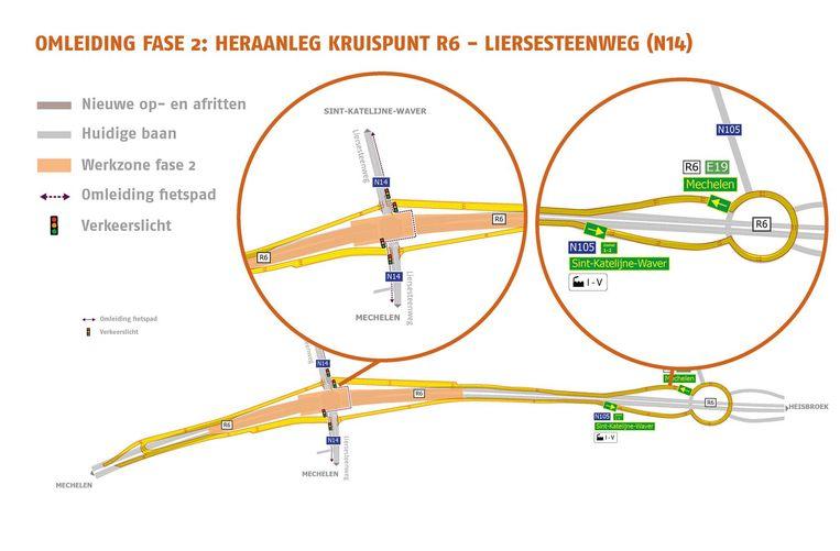 Een kaartje toont de verkeerssituatie tijdens de tweede fase. Op de onderste tekening zijn uiterst links en rechts de keerlussen zichtbaar. De linker cirkel toont de werf in het midden van het kruispunt van de R6 met de Liersesteenweg. De rechtercirkel toont de keerlus op de rotonde ter hoogte van de Heisbroekweg.