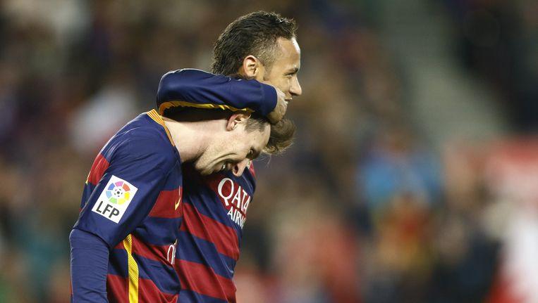 Lionel Messi en Neymar vormen met Cristiano Ronaldo de voorhoede van het sterrenteam. Beeld pro shots