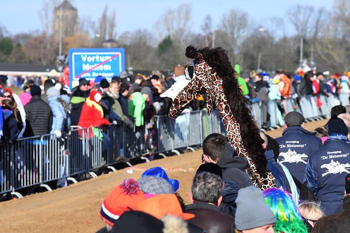 Bij de Metworstrennen lopen genoeg carnavaleske figuren rond. Deze zochten het als giraf hogerop. Loslopend wild tussen het publiek.