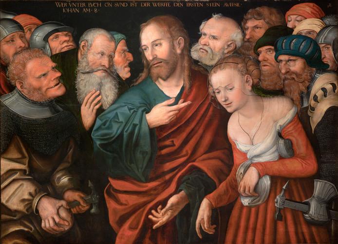 Jezus en de overspelige vrouw, afbeelding van Lucas Cranach.