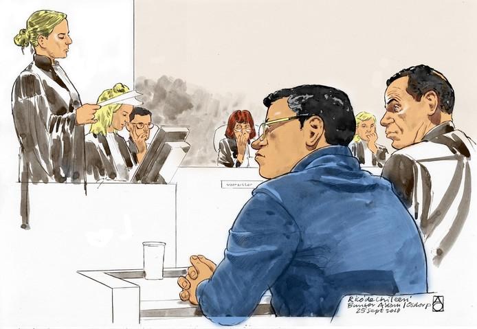 Rechtbanktekening van Rico de Chileen in de Amsterdamse rechtbank De Bunker