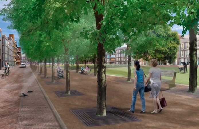 Zo moet het stadspark in de Spoorzone eruit gaan zien. De TU Delft gaat aan de ontwikkeling bijdragen.