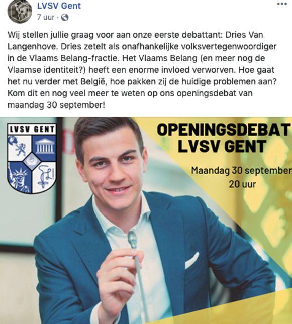 LVSV stak eerder niet onder stoelen of banken dat Dries Van Langenhove naar hun openingsdebat zou komen.