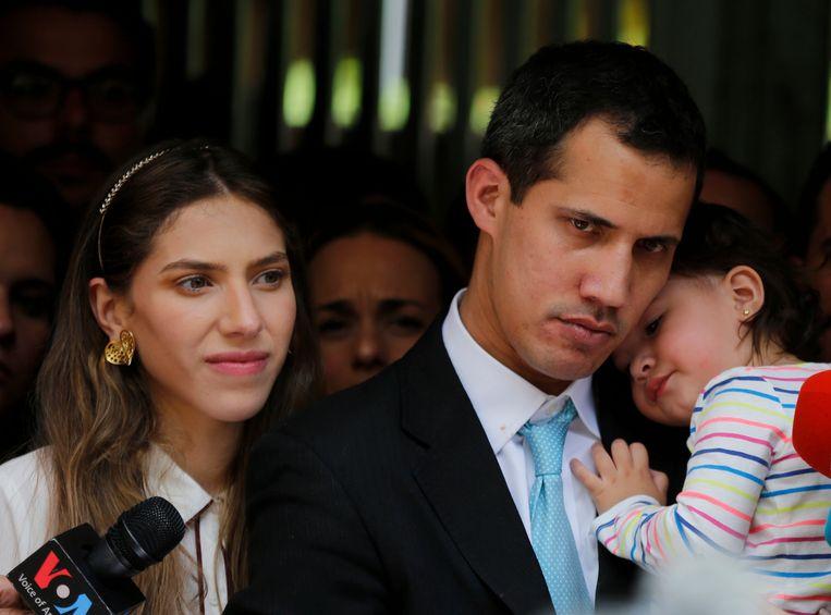 Juan Guaidó samen met zijn vrouw Fabiana Rosales en 20 maanden oude dochtertje Miranda.