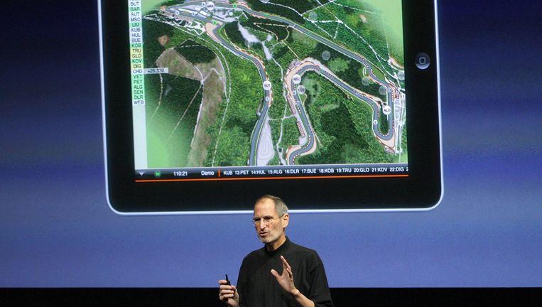 Apple-baas Steve Jobs spreekt over een iPad-applicatie op een conferentie in april 2010. Beeld reuters
