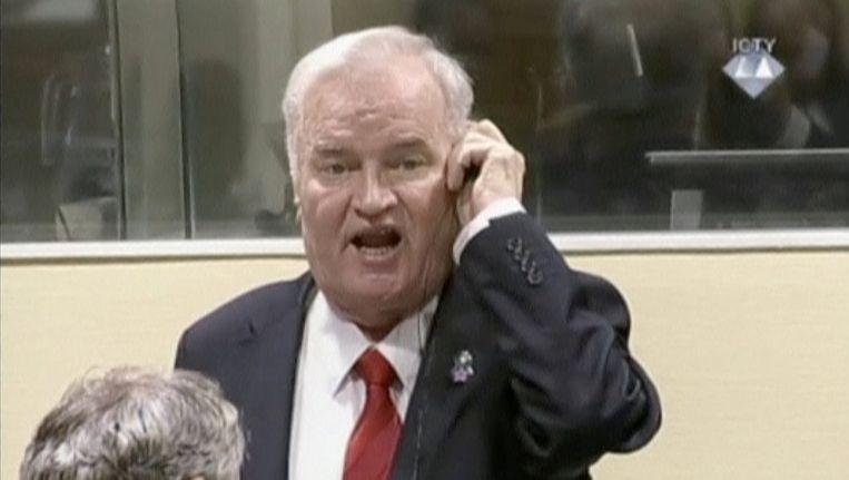 Ratko Mladic in het Joegoslaviëtribunaal. Beeld reuters