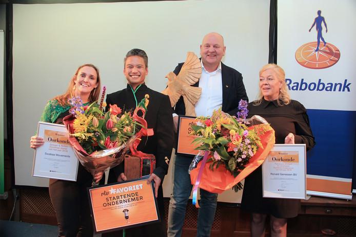 De winnaars: v.l.n.r Femke Baars, Johannes Swart, Ronald en Elvira Gerressen.