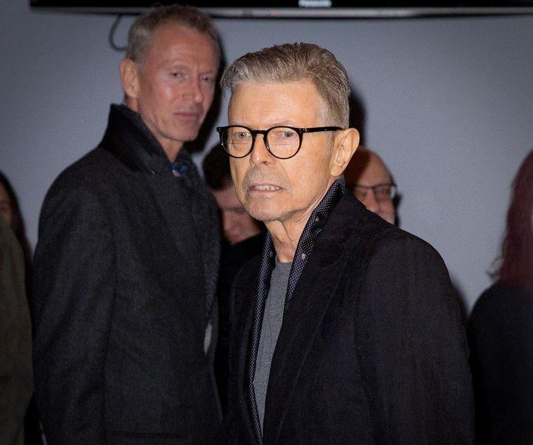 David Bowie na de première van Lazarus, 7 december 2015. Beeld anp