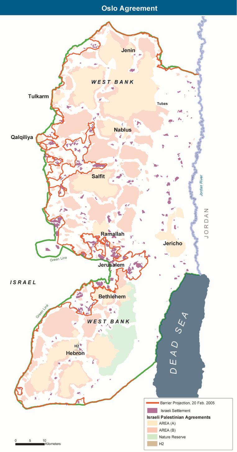 De drie gebieden van de Westelijke Jordaanoever Beeld Wickey-NL