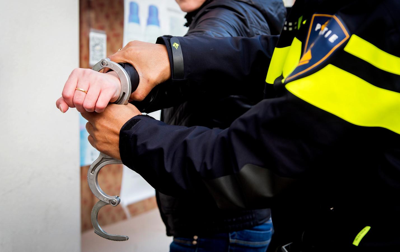 Politieagent verrichten een aanhouding. Afbeelding ter illustratie.