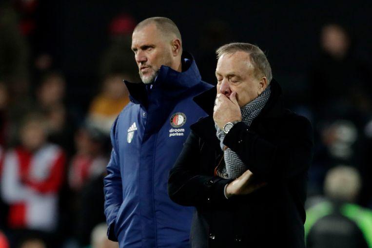 Dick Advocaat, trainer van Feyenoord, en John de Wolf, assistent-trainer. Beeld BSR Agency