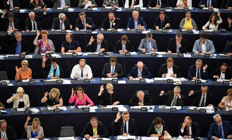 Leden van het Europees Parlement stemmen over de nieuwe auteursrechtenwetgeving.  Beeld EPA