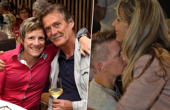 Marieke Vervoort met professor Wim Distelmans en haar sportmeter Lieve Bullens.
