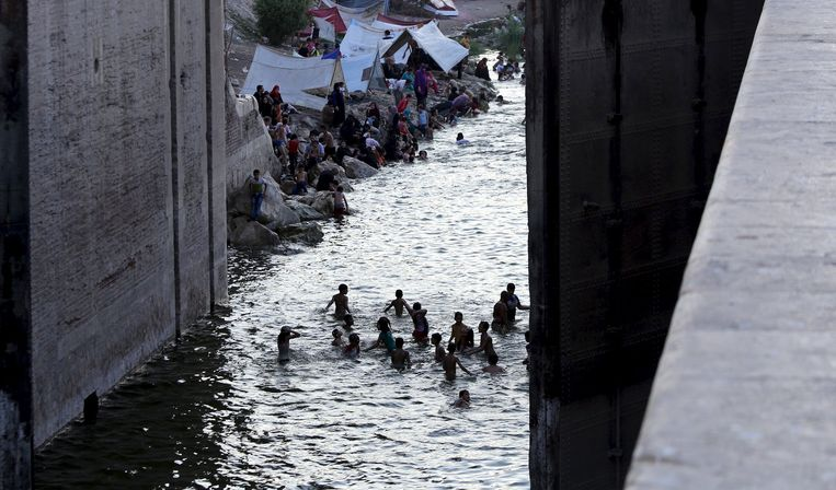 Veel Egyptenaren zoeken verkoeling in de Nijl.