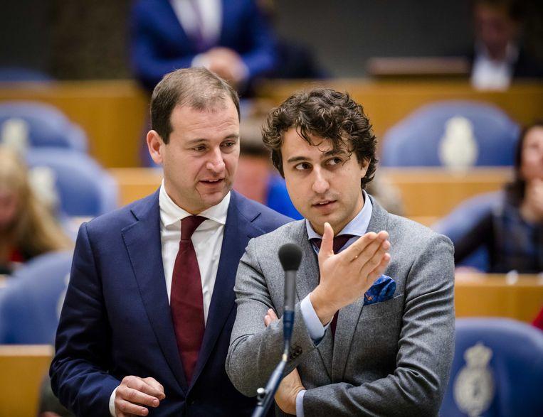 Lodewijk Asscher en Jesse Klaver in de Tweede Kamer. De Klimaatwet is een idee van PvdA en GroenLinks, bedacht in 2015.  Beeld ANP