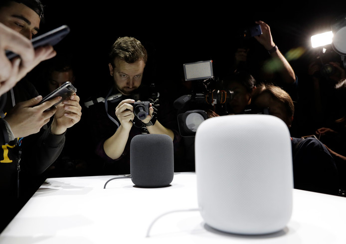 Apple's slimme speaker HomePod die het vorig jaar op de WWDC presenteerde.
