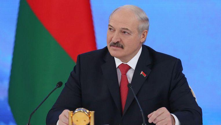 De Wit-Russische president Loekasjenko tijdens de zeven uur durende persconferentie. Minsk, 3 februari. Beeld epa