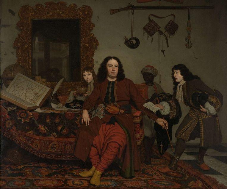 roepsportret door Michiel van Musscher uit 1687, met een zwarte bediende achter de diplomaat Thomas van Hees en zijn neven. Om de hals van de bediende zit een metalen band. Beeld Collectie Rijksmuseum